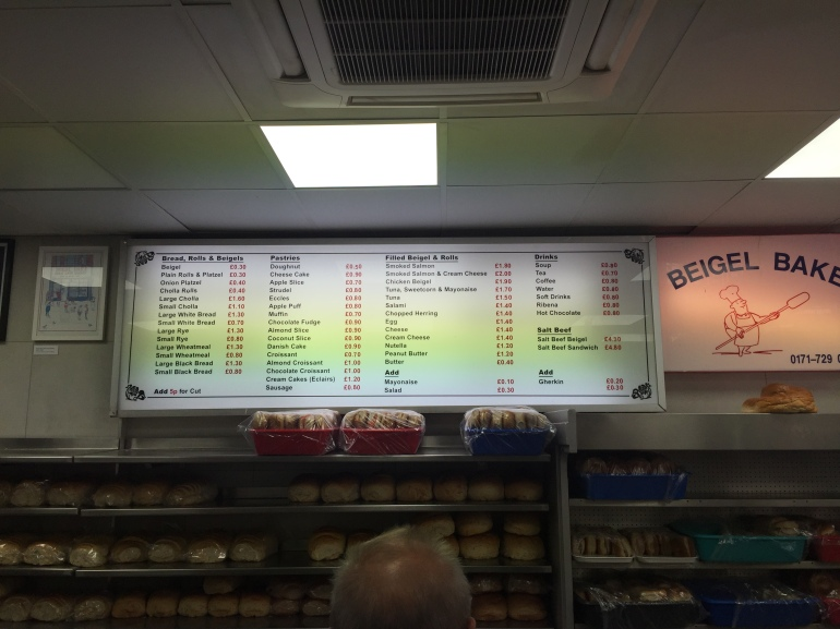 Beigel Bakes Menu
