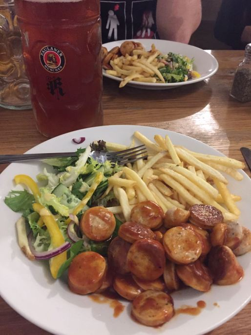 Katzenjammer's currywurst, washed down with a litre of rose beer.