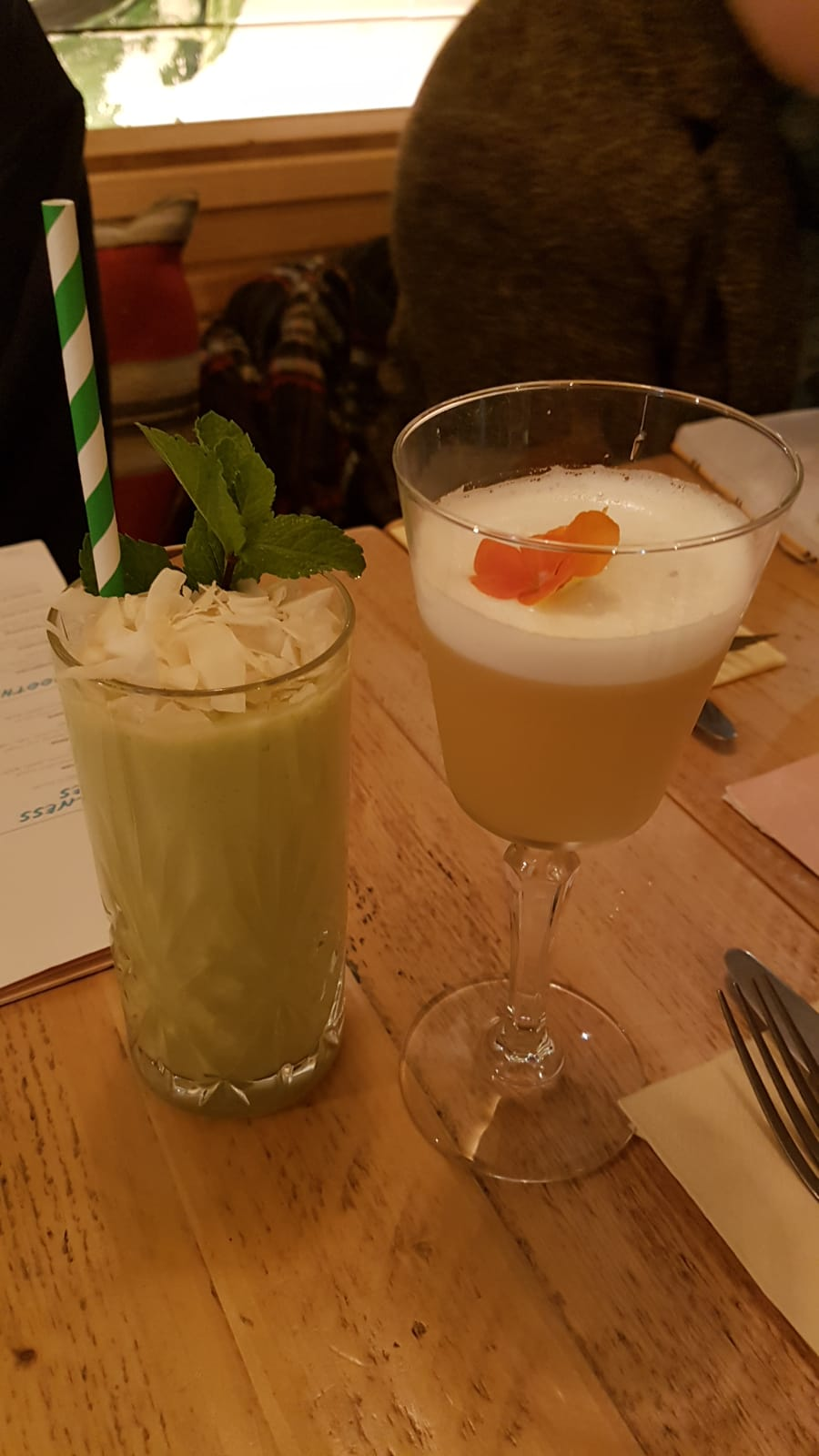 An Avocolada and a Sour Jasmine. (£7 each.)
