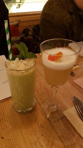An Avocolada and a Sour Jasmine. (£7 each.)